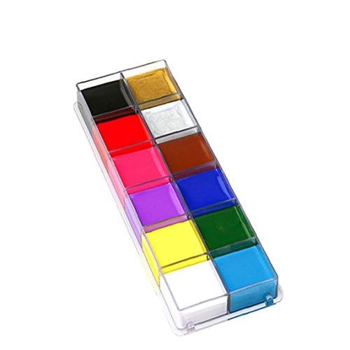 12 Colores Cara Cuerpo Petróleo Pintura Arte Fiesta De Halloween Fantasía De Belleza Maquillaje De La Cara De Pintura De Aceite 12 Colores De Pintura De La Carrocería Del Partido Del Art Fantasía