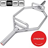 "Synergee 25kg Chrome Olympic Hex Barbell Trap Bar with Two Handles for Squats, Deadlifts, Shrugs and Power Pulls. 56"" Long Bar with 10"" Sleeve."