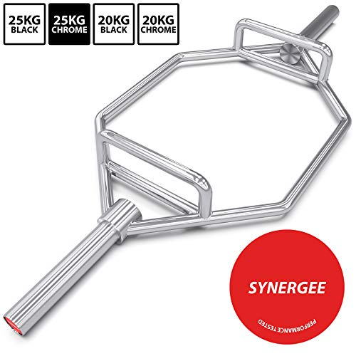 """Synergee 25kg Chrome Olympic Hex Barbell Trap Bar with Two Handles for Squats, Deadlifts, Shrugs and Power Pulls. 56"""" Long Bar with 10"""" Sleeve."""