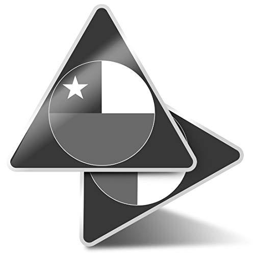 2 pegatinas triangulares de 7,5 cm, diseño de mapa de la bandera de Chile para portátiles, tabletas, equipaje, reserva de chatarra, neveras #41680