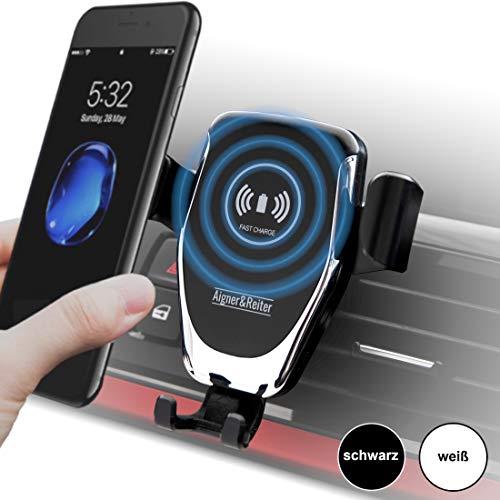 Auto-Handyhalterung mit kabellosem Ladegerät, Wireless Car Mount Charger, Schnellladegerät, Induktionsladegerät für alle iPhone, Samsung Galaxy, Huawei, LG mit Qi Standard (schwarz)