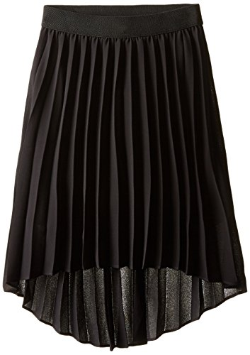 Amy Byer Girls' Picture Perfect High-Low Pleated Chiffon Skirt, Black, Large