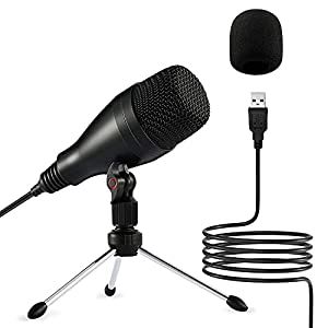 Moukey USB Microphone - Condenser Recording Mic for Podcast, YouTube, Studio, Streaming, Podcast Microphone with Tripod Stand & Mic Cover, Gaming Microphone for Computer -Windows or Mac (Mum-1)