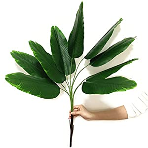 Fake Plants Banana Tree, CATTREE Artificial Plant Decor Tall Faux Tropical Palm Trees Home Room Greenery Decorations Plastic Leaves Foliage Stems Bulk Indoor Outdoor Garden Party Wedding Decoration