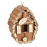 Relaxdays Mini Vogelhaus, zum Aufhängen, unbehandeltes Holz, Balkon, Terrasse, Gartendeko Nistkasten, 24,5x11x8cm, natur