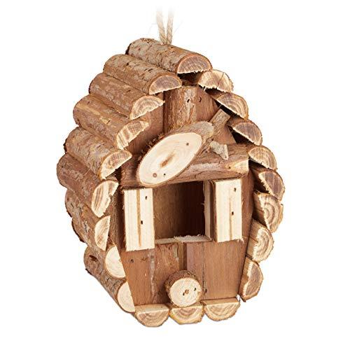Relaxdays Mini Maison d'Oiseau, à Suspendre, Bois Non traité, Balcon, terrasse, nid décoratif de Jardin, 24,5x11x8cm, Nature