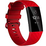 Velavior Waterproof Bands for Fitbit Charge 3/ Fitbit Charge 4/ Charge3 SE, Replacement Wristbands for Women Men Small Large (Red, Small)