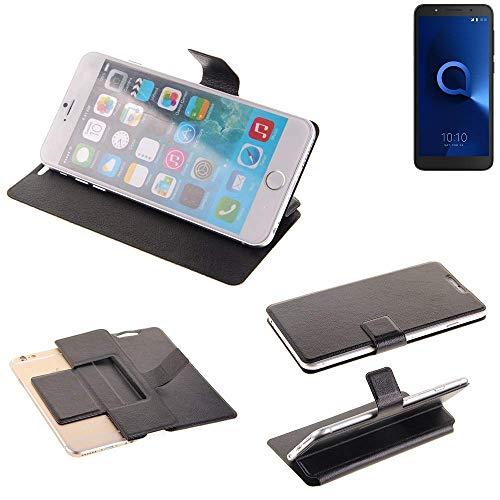 K-S-Trade® Schutz Hülle Für Alcatel 1C Dual SIM Schutzhülle Flip Cover Handy Wallet Case Slim Handyhülle Bookstyle Schwarz