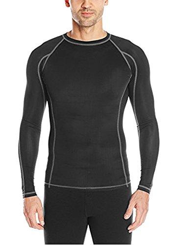 Epic MMA Gear Men's Compression Shirt Long Sleeve (Black/Grey, XL)