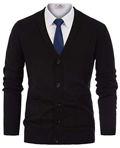 PJ PAUL JONES Men's Slim Cut Look Shawl Collar Button Down Cardigan Sweater Size 2XL Black