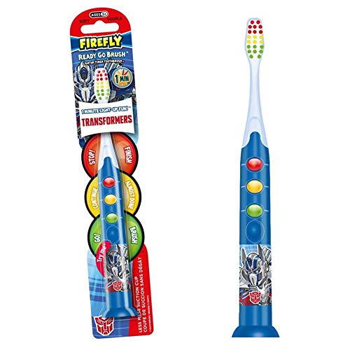 Firefly Transformers Firefly Ready Go Brush Light-Up Tooth Brush Timer Battery Powered Toothbrush With Suction Cup