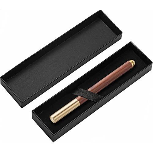 Poruishi Bolígrafo de madera hecho a mano con caja de regalo de lujo, de latón y madera, de 0,7 mm, regalo para él cumpleaños, día de San Valentín, día del padre (marrón)