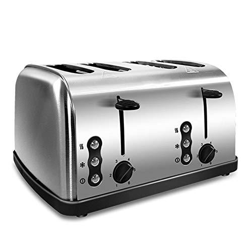 Ashey Tostadora de Acero Inoxidable de 4 rebanadas, tostadora automática de Pan de Calentamiento rápido, máquina de Calentamiento de Horno de Desayuno para el hogar