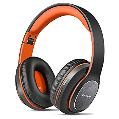 Wireless Headphones Over Ear, WorWoder [50 Hrs Playtime] Bluetooth Headphones, Foldable Hi-Fi Stereo, Soft Earmuffs & Light Weight, Built-in HD Mic ? Wired Mode for Cellphone PC TV ?Black-Orange) by WorWoder