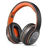 WorWoder Casque sans fil Bluetooth avec chaîne hi-fi pliable, écouteurs doux et léger, micro HD intégré noir/orange