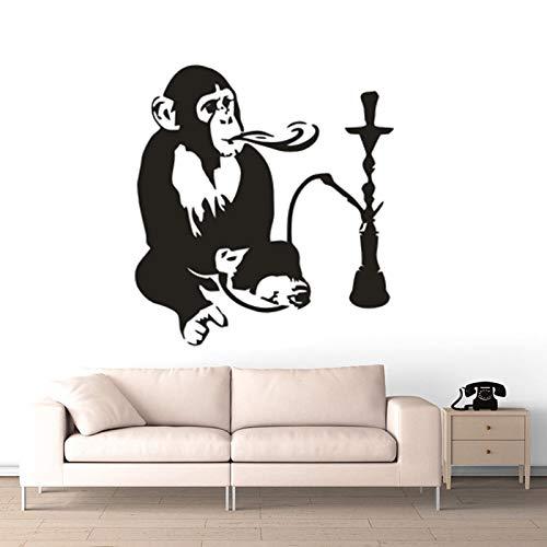 keletop AFFE mit Shisha Vinyl Aufkleber Home Interior Dekoration Shisha Relax Arabische Wandaufkleber abnehmbare lustige AFFE Wandbild 57x62cm