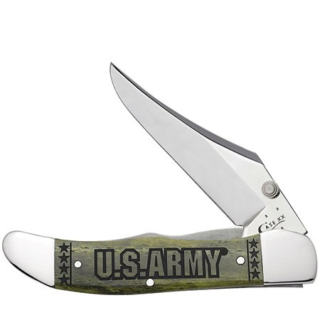 CASE XX U.S. Army Smooth Olive Green Bone Mid Folding Hunter Stainless Pocket Knife Knives