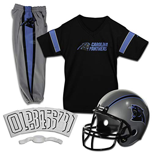 Franklin Sports Carolina Panthers Kids Football Uniform Set - NFL Youth Football Costume for Boys & Girls - Set Includes Helmet, Jersey & Pants - Small