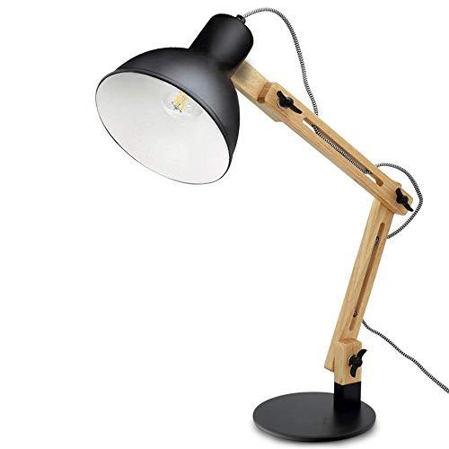 Depuley E27 Tischlampe mit Holzarm Verstellbare Schreibtischlampe mit Druckschalter Klassische Leselampe, Schwarze Nachttischlampe für Büro, Schlafzimmer, Wohnzimmer, Kinderzimmer