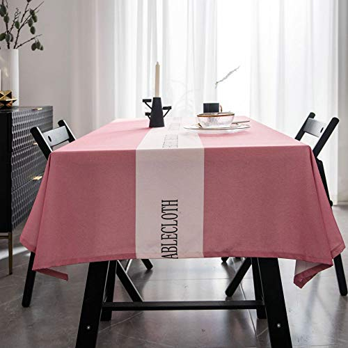 ShiyueNB waterdicht tafelkleed eenvoudig modern net tafelkleed eenkleurig licht doek salontafel doek 135 * 180 Roze middenletter zonder punt