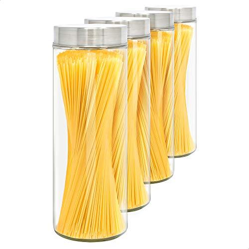 LG Luxury & Grace Set 4 Vorratsdosen Glas mit Deckel, 1,75 L (31x10 cm). Borosilikatglas Glasbehälter. Vorratsgläser mit Edelstahldeckel.