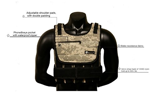 Product Image 1: Strength sport systems Weight Vest (Short) – Premium Quality – Best for Cross fit Training – Running – Jogging – Fully Adjustable (S pro Weight Vest) (Pro II – Camouflage, 40lbs(Iron ore Bags))