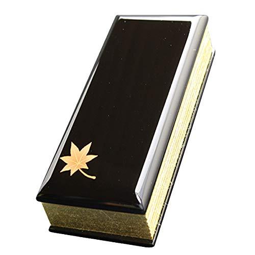 京仏壇はやし 過去帳 蒔絵黒( 桔梗 ) 5寸 日付入り ◆縦 約15cm 横 約6cm 厚み 約2.5cm