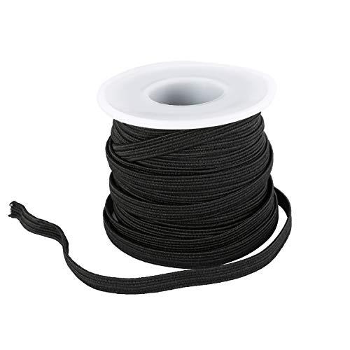 TS LLC 1/4' 10 Yard Black Sewing Elastic Cord Stretchy DIY Band Round Strap Ear Tie Braided Rope for Handmade Mask Craft Stretchy String