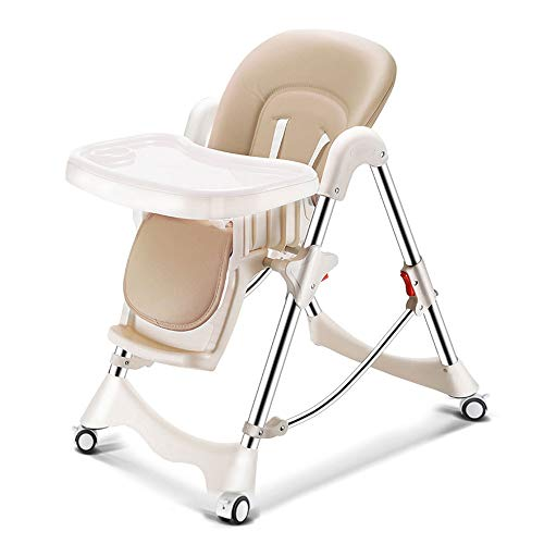 Lowest Prices! Foldable Baby High Chair, One-Touch Adjustment of Environmentally Friendly Dining Pla...