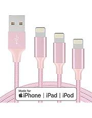 Marchpower Kabel do ładowarki iPhone MFi certyfikowany kabel Lightning 3 szt. 1,5 m 10 m USB A kabel do szybkiego ładowania iPhone 12 SE 11 Pro MAX Xs XS XR X 8 7 6 Plus iPad iPod różowy