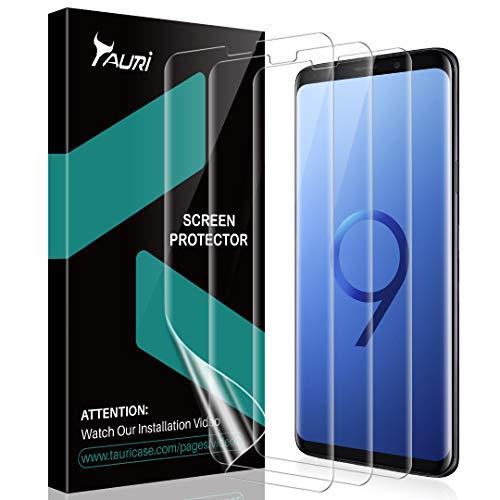 TAURI [3 Pezzi Pellicola Protettiva per Samsung Galaxy S9, [Adatta a Sensore Ultrasonico] [Compatibile con la Custodia][Senza Bolle] HD Trasparente Morbido TPU Schermo Protettivo