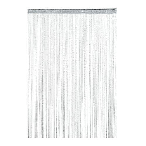 Relaxdays Tenda a Fili, Accorciabile, 145x245 cm, con Passante, Porte e Finestre, Frange Antimosche, Zanzare, Argento, 1 pz
