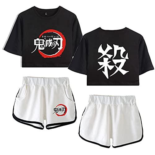 Yumenam Damen Demon Slayer Anime Crop Top T-Shirts und Shorts 2 Stück Anzug Sommer Kurzarm Shirt Shorts Trainingsanzüge Sportanzug Cosplay Outfits