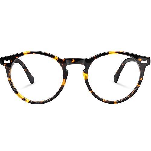 Carfia Blue Light Blocking Glasses for Men, Retro Round Computer Gaming Glasses Anti Blue Ray CA5288