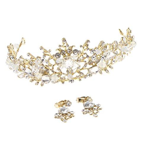 F Fityle Glitzer Brautschmuck Braut Accessoires Ohrringe + Haarkrone Haarschmuck