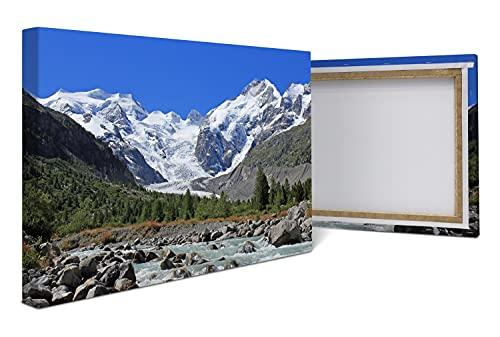 wandmotiv24 Cuadro en Lienzo Morteratsch Alpes del Glaciar 60x40cm (Ancho x Alto) Foto panorámica Foto Lienzo Mural Foto Regalos M0236