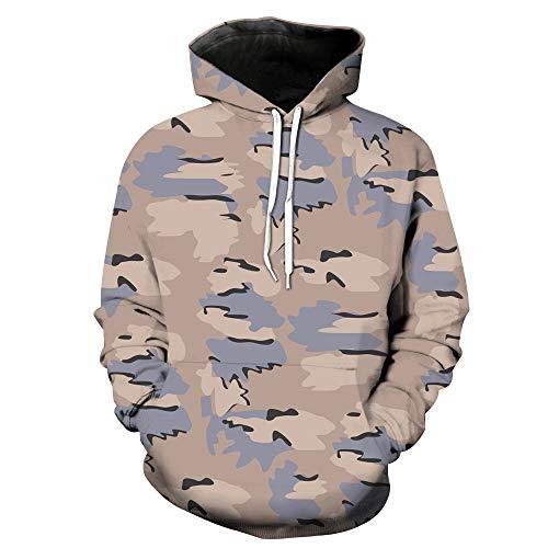 Uqiangy Men's Funny Jacket Pocket Hooded Camouflage Sweatshirt Coat(Gray,XXXL)