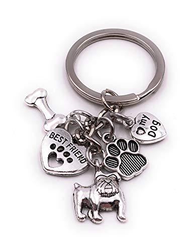 H-Customs Mops Dogge Hund Haustiert Best Friend Herz Tatze Knochen Silber Schlüsselanhänger Anhänger