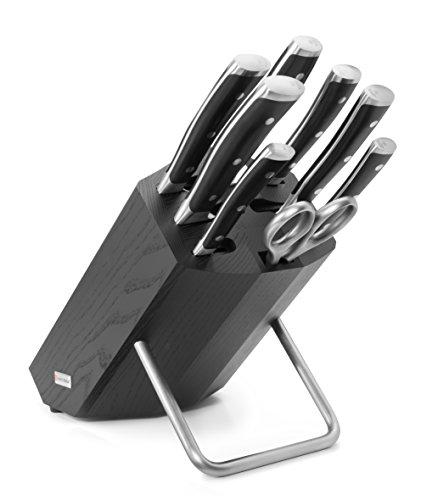 Un blocco fornito con 8pezzi: 6coltelli forgiati e 2accessori. Contiene: uno spelucchino 9cm, un coltello a salame 14cm, un coltello da pane 23cm, un tranchelard 16cm, un coltello da chef 20cm, un santoku da 17cm, forbici da cucina e un fuci...