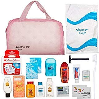 Women's Ultimate Travel Toiletries Bag , Shampoo, Conditioner, Body Wash, Bar Soap, Deodorant, Toothbrush, Toothpaste, Floss, Nail Polish Remover Pads, Bundle of TSA Approved Size (Clear Women's Bag)