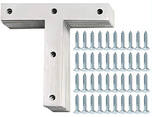 """Alise Stainless Steel""""T"""" Flat Shape Repair Mending Plate Joining Bracket Support Brace 120mm x 120mm,8 Pcs Brushed Nickel"""