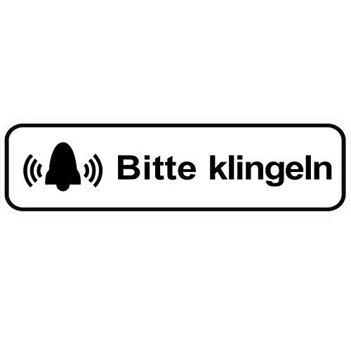 """""""Bitte klingeln"""" Aufkleber / Türaufkleber/ Türschild/ PVC Hinweisschild 180mm x 50mm Weiß/Schwarz selbstklebend"""