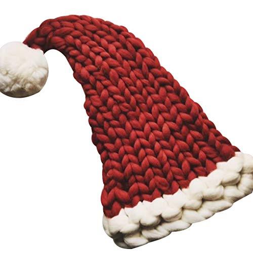 rongweiwang Frauen Langen Ball Wollmütze Cap Mädchen beiläufige Crochet Zipfelmütze Weihnachten Winter Zipfelmütze