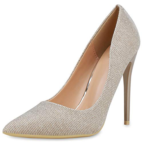 SCARPE VITA Damen Spitze Pumps Glitzer High Heels Party Schuhe Metallic Abendschuhe Elegante Stiletto Absatzschuhe 190410 Bronze 39