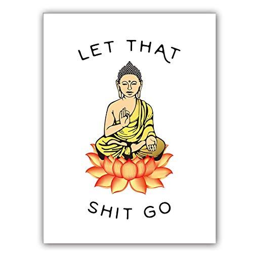 KAIRNE Lustige Sprüche Bilder, Let That Shit Go Poster, Bild mit Spruch, Zen Druck, Yoga Raum Dekoration Leinwand Wandbilder für Wandkuns Toilette, Home Decor Set von 1 (30,5 x 40,6 cm)