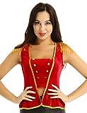 Alvivi Damen Zirkus Kostüm Tops mit Quasten Halloween Zirkusdirektor Showkostüm Fasching Karneval...