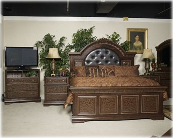 Hot Sale Ashley Southerland Shire King Mansion Bed in Cherry Grain Finish