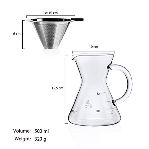 コーヒーサーバー コーヒードリッパー プレゼント Love-KANKEI スポンジブラシ付属 耐熱ガラス ステンレスフィルター 2層メッシュ フィルター不要 電子レンジ可 2-4人分 500Ml