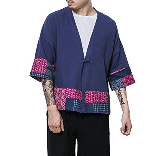 Zhhlaixing Kimono japonés Hombre Robe Coat Manga 3/4 Mens Vintage Cloak Cotton Linen Blends Loose fit Short Coat Jacket Cardigan