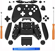 SN-RIGGOR Replacement Housing Full Shell Set Full Buttons Set Faceplates ABXY Buttons RB LB Bumpers for Xbox One S Slim Controller (3.5 mm Headphone Jack) S Controller Repair Parts (Black)